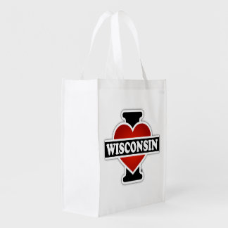 Sac Réutilisable I coeur le Wisconsin