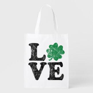 Sac Réutilisable Irlandais de shamrock d'AMOUR du jour de St