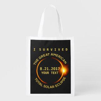 Sac Réutilisable J'ai survécu à toute l'éclipse solaire 8.21.2017