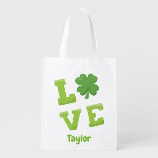 Sac Réutilisable Jour de la Saint Patrick renversant de lettrage de