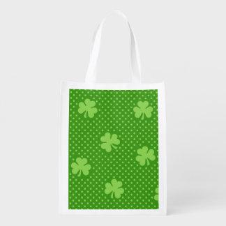 Sac Réutilisable Jour vert de Patricks de saint de motif de trèfle
