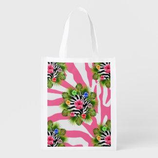 Sac Réutilisable Ketmie tropicale et rayures roses exotiques de