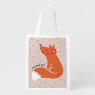 Sac Réutilisable Le Fox mignon avec la fleur/rougissent arrière -
