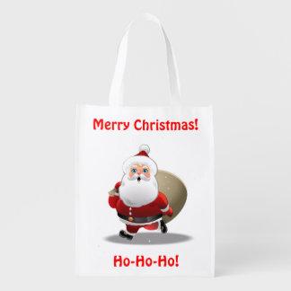 Sac Réutilisable Le père noël drôle avec un sac plein des cadeaux