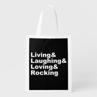 Sac Réutilisable Living&Laughing&Loving&ROCKING (blanc)