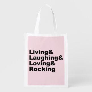 Sac Réutilisable Living&Laughing&Loving&ROCKING (noir)