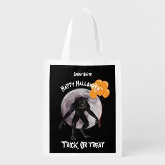 Sac Réutilisable Loup-garou de Halloween avec des ballons