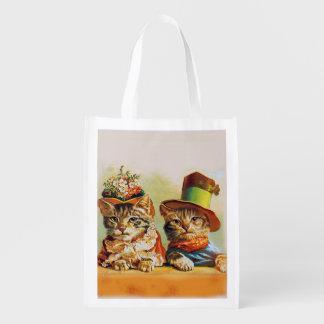 Sac Réutilisable Madame et monsieur, chats, artiste inconnu