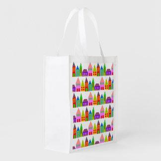 Sac Réutilisable Maisons heureuses réutilisables pliant le sac à