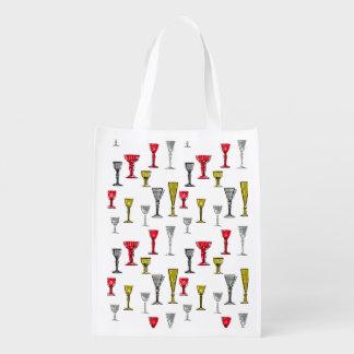 Sac Réutilisable Motif coloré en verre de vin
