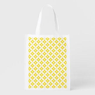 Sac Réutilisable Motif de pois jaune et blanc moderne de cercle