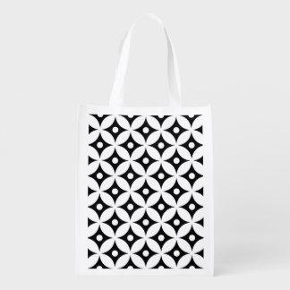 Sac Réutilisable Motif de pois noir et blanc moderne de cercle