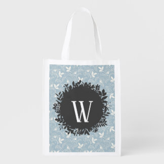 Sac Réutilisable Motif floral blanc et bleu-clair avec le
