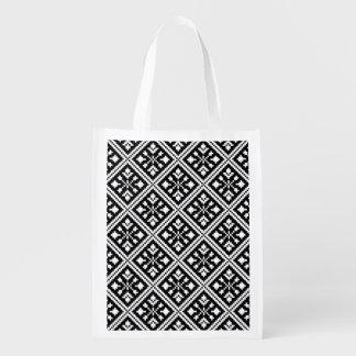 Sac Réutilisable Motif noir et blanc de flocons de neige de Noël