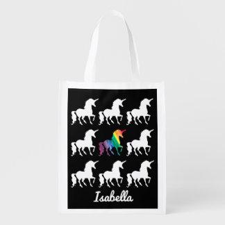 Sac Réutilisable Motif noir et blanc de licorne personnalisée