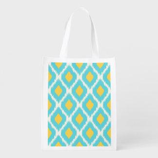 Sac Réutilisable Motif tribal aztèque jaune bleu à la mode d'Ikat