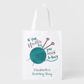 Sac Réutilisable Nom drôle de tricoteuses de l'humour   de fil