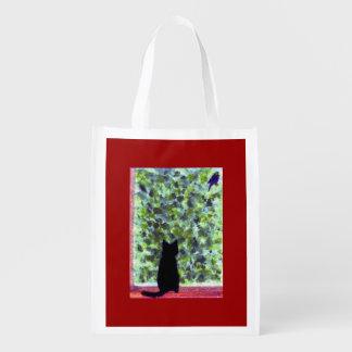 Sac Réutilisable Observation d'oiseau de chat noir d'art de chat