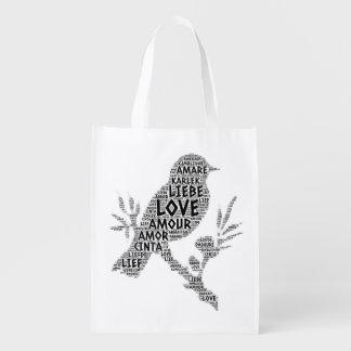 Sac Réutilisable Oiseau illustré avec le mot d'amour