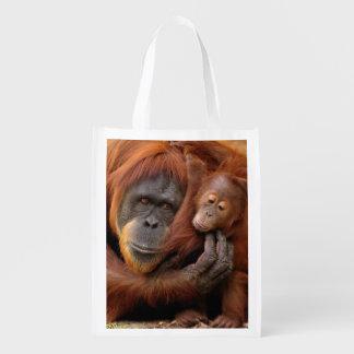 Sac Réutilisable Orang-outan de mère et de bébé