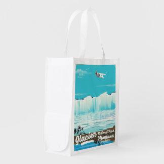 Sac Réutilisable Parc national de glacier, poster vintage du
