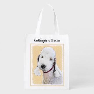 Sac Réutilisable Peinture de Bedlington Terrier 2 - art original de