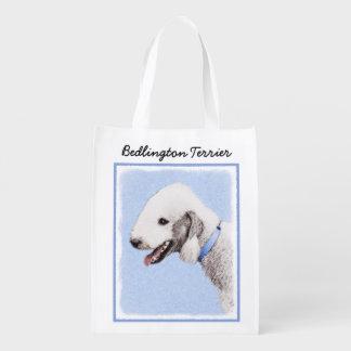 Sac Réutilisable Peinture de Bedlington Terrier - art original de