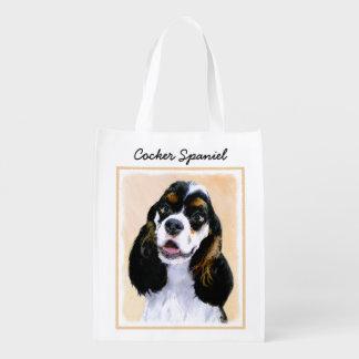 Sac Réutilisable Peinture de cocker (Parti) - art original de chien
