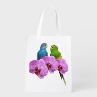 Sac Réutilisable Perruche avec l'orchidée pourpre