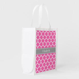 Sac Réutilisable Pink2 monogramme nommé gris-foncé blanc chaud du