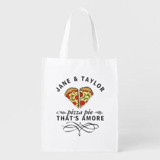 Sac Réutilisable Pizza de l'amour du couple personnalisée