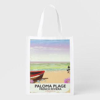 Sac Réutilisable Plage de Paloma, affiche de voyage de la Côte