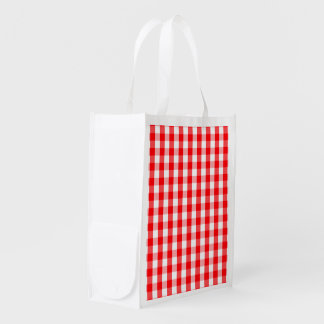 Sac Réutilisable Plaid rouge et blanc de grand Noël de guingan de