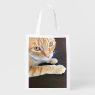 Sac Réutilisable Plan rapproché orange de chat