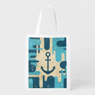 Sac Réutilisable Rétro conception nautique turquoise d'ancre