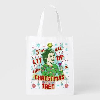 Sac Réutilisable Rétro Lit potable de femme d'humour de Noël drôle