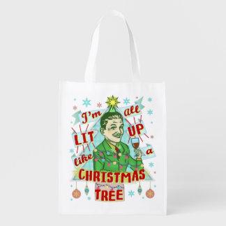Sac Réutilisable Rétro Lit potable d'homme d'humour de Noël drôle