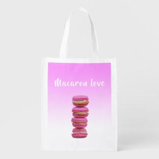 Sac Réutilisable Rose d'amour de Macaron sur un contexte rose