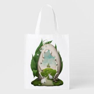 Sac Réutilisable Sac d'épicerie réutilisable de lapins d'oeuf de