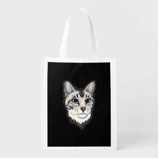Sac Réutilisable sac fourre-tout réutilisable à chat siamois de