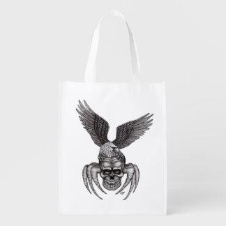 Sac Réutilisable Spiderskull avec Eagle dans le Tatouage-style