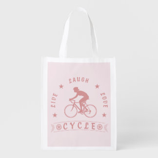 Sac Réutilisable Texte de Live Laugh Love Cycle de Madame (rose)