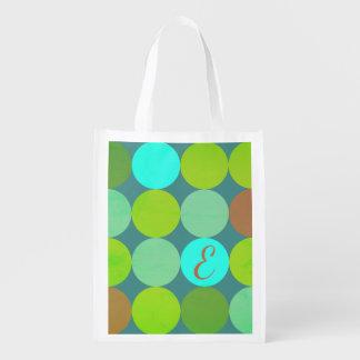 Sac Réutilisable Turquoise turquoise de vert de chaux et monogramme