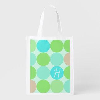 Sac Réutilisable Vert bleu de turquoise et monogramme de cercles