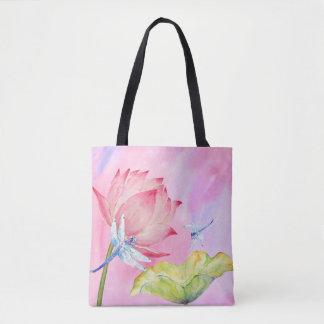 sac rose mou d'été d'aquarelle de libellules de