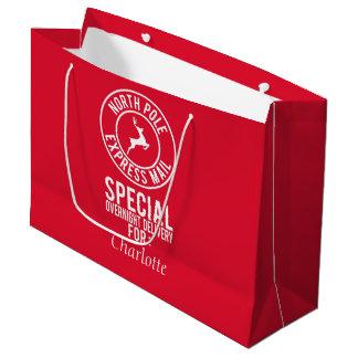 Sac rouge et blanc de cadeau de nom de courrier