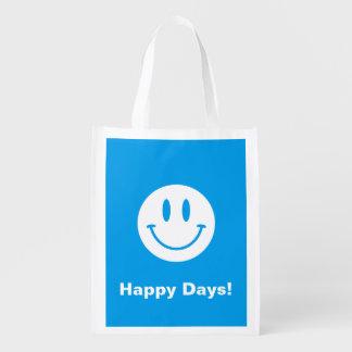 Sac souriant de visage de jours heureux sac réutilisable