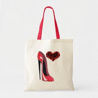 Sac stylet rouge de chaussure et de coeur 3D