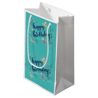 Sac turquoise de cadeau de joyeux anniversaire