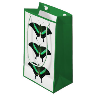 Sac vert de cadeau de papillon de machaon
